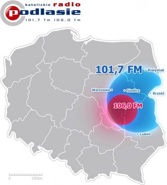 mapa zasięgu katolickiego radia podlasie